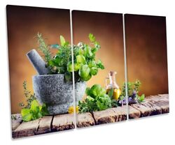 Fresh Herbs Spices Mortar Picture Treble Canvas Wall Art Print