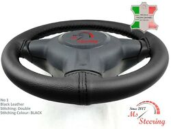 For Saturn Ion 03-04 Black Leather Steering Wheel Cover Chosen Colours 2 Stit