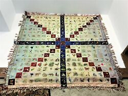 Vintage Hand Embroidered Decorative Paneled Floral Animal Fringed Quilt Chinese