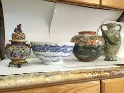 Export China Style Hong Bowl By Gump's Of San Fransisco Vintage Hand Painted Art