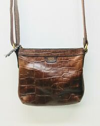 Fossil Purse Brown Crocodile Embossed Leather Shoulder Bag Crossbody 10x9x2 $37.39