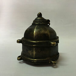 An Old Hand Crafted Engraved Brass Ink Well Pot Decorative Shape Early