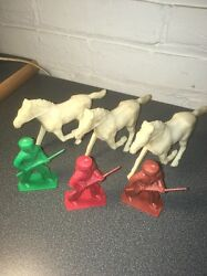 Vintage Tim-mee Toy Horses And Frontiersmen Lot Of Six 1950's