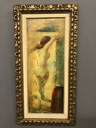 Unsigned Female Nude Oil On Masonite Painting 25andrdquo X 12 1/2andrdquo