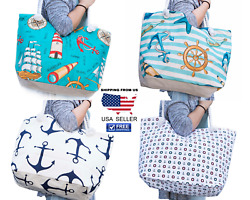 Women Tote Canvas Beach Bag Nautical Ladies Shopping Full Zip Rope Handle Bags $10.99