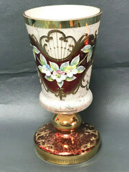 Nice Czech Bohemian Goblet Vase White Glass Enameled Flowers And Gold Plated 6,5