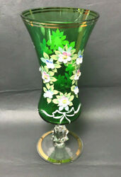 Nice Czech Bohemian Goblet Vase Green Glass Enameled Flowers And Gold Plated 10