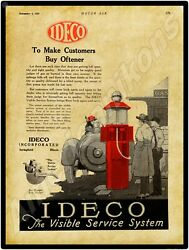 1920 Ideco Visible Gas Pumps Company New Metal Sign Springfield, Illinois