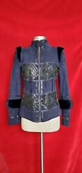 Roberto Cavalli Suede Fur Patent Leather Navy Blue Jacket Size 40