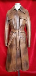 Celine Brown Ombre Leather Long Zip Up Jacket With Pockets Size 38
