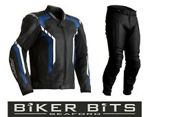 Rst Axis 2021 Black/blue/white Ce Menand039s Leather Budget Jacket And Trousers 2pc Set