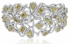 LARGE 23.51CT WHITE & FANCY YELLOW DIAMOND 18KT 2 TONE GOLD LOVE BANGLE BRACELET