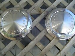 Two Mercury Comet Cyclone Dog Dish Hubcaps Wheel Covers Center Caps Vintage