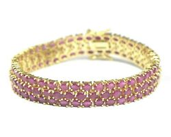Natural Ruby Gemstone 14k Gold Plating 925 Silver Tennis Three Line Bracelet