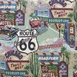 ROUTE 66 MOTEL DINER GAS PUMP TAPESTRY UPHOLSTERY FABRIC BY THE YARD HAPPY DAYS