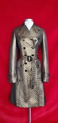 Bronze Metallic Quilted Double Breasted Trench Coat Size 6