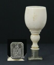 Antique 19th C Wax Stamp Seal With Wolf Coat Of Arms Familiewapen Van Splinter