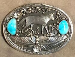Southwest Sterling Silver And Turquoise Wolf Belt Buckle Artist Berta Lee
