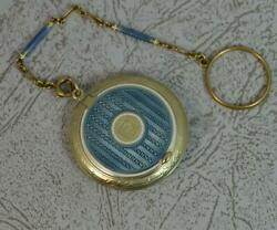 Rare Edwardian And Co 14ct Gold And Enamel Compact And Chain D2058