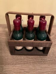Mini Set Of Six Yankee Candle Wine Bottle Candles And Holder