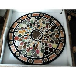 48 Black Marble Round Top Dining Table Inlay Floral Art Wedding Gift For Her