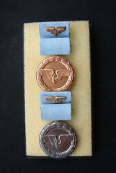 Medals For Loyal Service At The German Reichsbahn Railways In Bronze And Silver