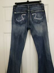 Rock And Republic Womenand039s Bootcut Blue Jeans 26 Cute Nice Adorable Denim Sparkle