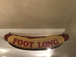 Painted And Cut Out Wood Andldquofoot Longandrdquo Hot Dog Sign 40andrsquos-50andrsquos 18andrdquo X 65andrdquo