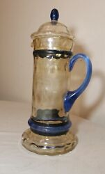 Large Vintage Quality Hand Blown Studio Art Glass Lidded Beer Stein Pitcher