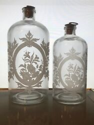 Two Vintage Frosted Etched Glass Apothecary Bottles Jars Cork Metal Top Stoppers