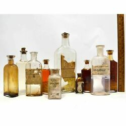 Antique Bottle Lot Of 10 Medicine-cures Paper Label And Contents Apothecary / Drug