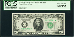1934 C Star Fr 2057-g Chicago 20 Old Back Federal Reserve Note Pcgs 64ppq