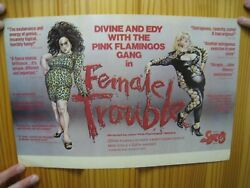 Female Trouble Poster Divine And Edy Pink Flamingos Gang John Waters