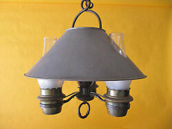 Vintage 1930's Monterey Rancho Iron And Brass 3 Light Chandelier Wired