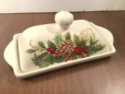 Covered Butter Dish Christmas Hand Painted Yuletide Holly Berries Pinecones