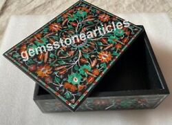 6x4x2 Black Marble Jewelry Box Marquetry Art Beautiful Love Gift For Her