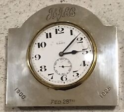 Hallmarked 1923 Swiss Made Walker & Hall Silver Desk Clock Antique Inscription