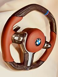 Bmw G11 G12 G30 G32 G01 G02 G05 Carbon Fiber And Leather Steering Wheel Tan New