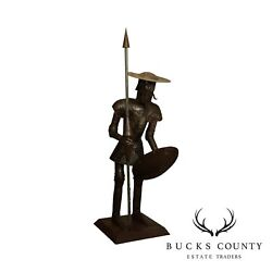 Quixote Vintage Hand Crafted Larger Than Life Size Metal Suit Of Armor Sculpture