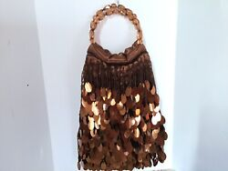 Bronze Evening Bag With Large Shimmering Sequins With Large Beads Handle $21.00