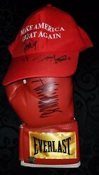 President Donald Trump Signed Boxing Glove Stormy Daniels Signed Maga Hat