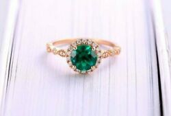 Natural Emerald Halo Solitaire Wedding Ring 0.22 Ct Round Diamond 18k Rose Gold