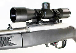 Ruger 10/22 Black 4x32 Rifle Scope W/ Free Mount Ring Base Aluminum Hunting Blk.
