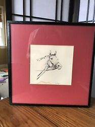 Original Framed Pencil Ink Color Drawing Horse Head Study Signed By Paul Brown