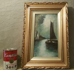 Outhwaite Antique English Painting Seascape London Middlesbourgh Vtg Sail Boat