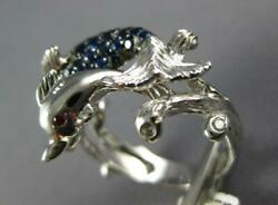 1.36ct Diamond And Aaa Sapphire And Ruby 18kt White Gold 3d Double Dolphin Fun Ring