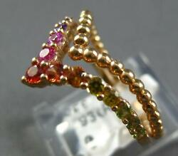 Estate .62ct Aaa Multi Color Sapphire 18kt Rose Gold 3d Double V Shape Fun Ring