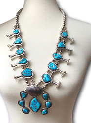 Native American Sterling Silver And Turquoise Squash Blossom Statement Necklace