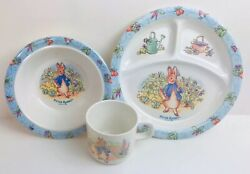 Peter Rabbit Vintage Divided Dish Plate Bowl And Cup 1996 Eden Child Garden Scene