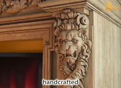 Carved Pair Corbels Lion From Oak Wood Carving Decor For Fireplace Surround